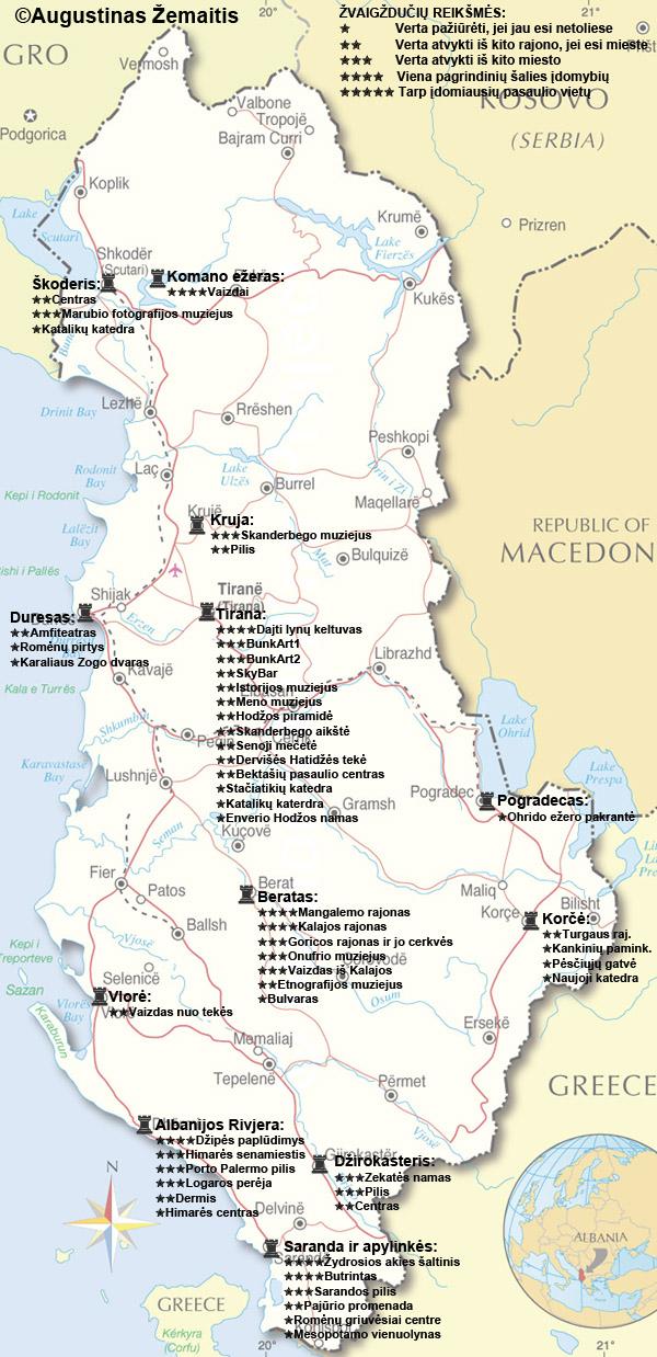 Albanijos lankytinų vietų žemėlapis. Galbūt jis padės jums susiplanuoti savo kelionę į Albaniją