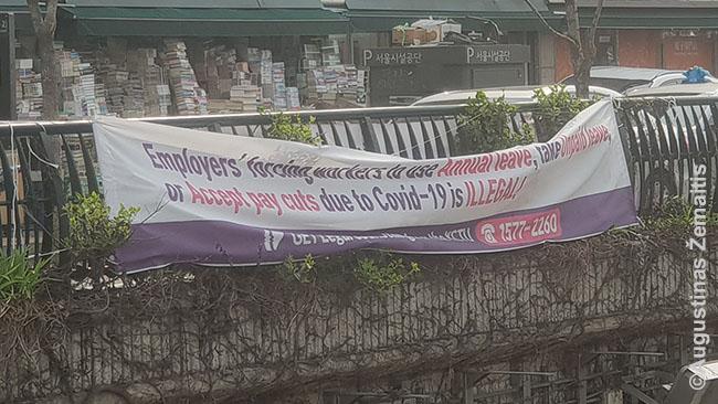 Atsišaukimas gatvėje rašo, kad Korėjoje nelegalu dėl COVID mažinti algą ar atleisti. Daug verslų ir Korėjoje patirs nuostolių - nes susitraukė importo rinkos. Bet tie nuostoliai nė iš tolo neprimins tos krizės, kuri smogs Europai