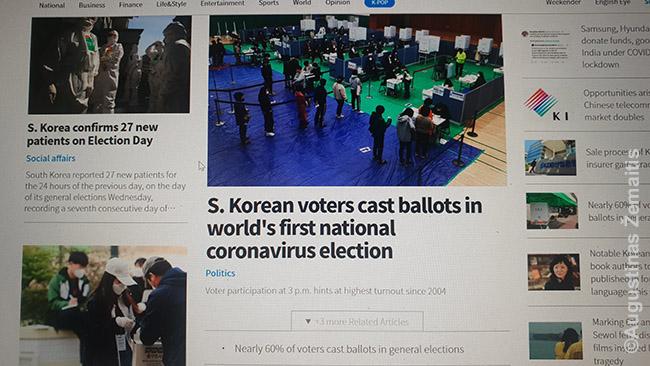 Pranešimas KOrea Herald portale apie pirmuosius per pandemiją rinkimus pasaulyje (kitur jie buvo atidėti)