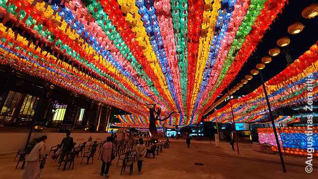 Budos gimtadieniui šventyklas papuošę žibintai. Kai esi šalyje ilgiau, lengvai gali sulaukti įvairių švenčių