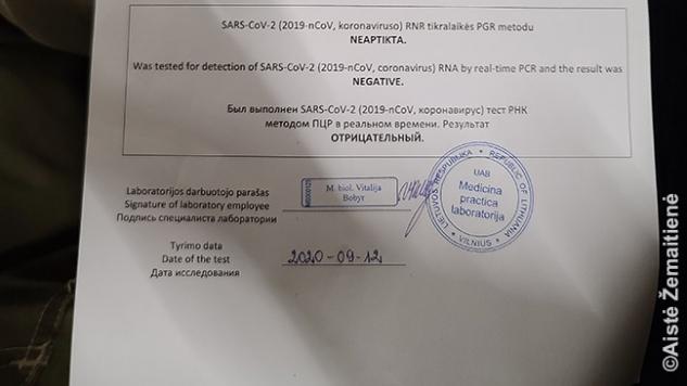 Koronaviruso PGR testo pažymos fragmentas