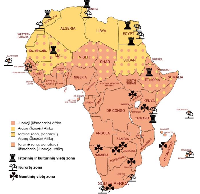 Du Afrikos kultūriniai-istoriniai regionai (Šiaurės/Arabų bei Užsachario/Juodoji Afrikos) ir jų tarpinės zonos, o taip pat pagrindinės Afrikos lankytinų vietų samplaikos viename žemėlapyje