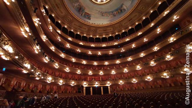 Vienas išsaugotų Buenos Airių interjerų - Kolumbo teatras, nuolat kupinas turistų. XIX-XX a. sandūroje teatrai Lotynų Amerikoje buvo kiekvieno turtingo didmiesčio pasididžiavimas ir vieni kitus stengėsi pranokti