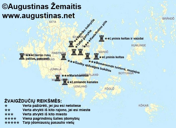 Alandų salų lankytinų vietų žemėlapis. Galbūt jis padės jums susiplanuoti savo kelionę į Alandų salas
