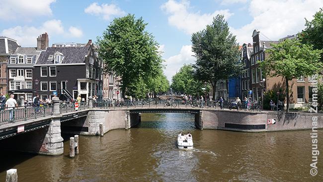 Kanalų sankryža Amsterdame žvelgiant nuo vieno tiltų