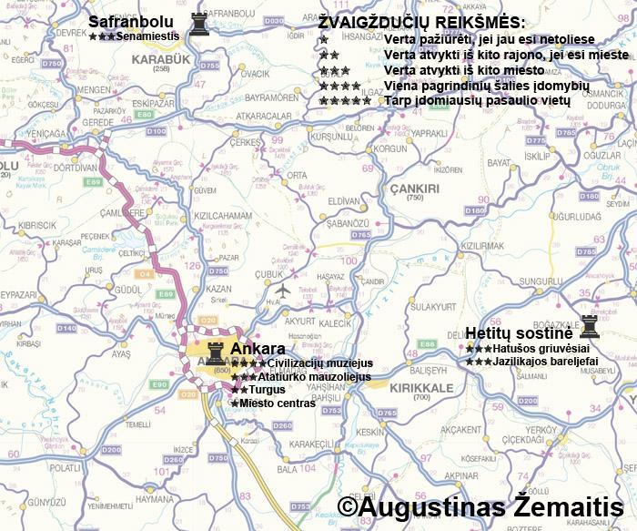 Ankaros bei jos apylinkių lankytinų vietų žemėlapis ir įvertinimai. Galbūt jis jums padės susiplanuoti savo kelionę į Ankarą