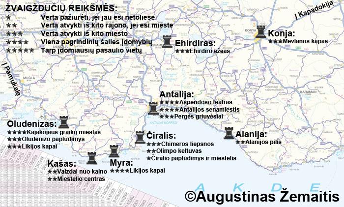 Antalijos regiono (Turkijos Viduržemio jūros pakrantės) lankytinų vietų žemėlapis ir įvertinimai. Galbūt jis jums padės susiplanuoti savo kelionę į Antalijos regioną