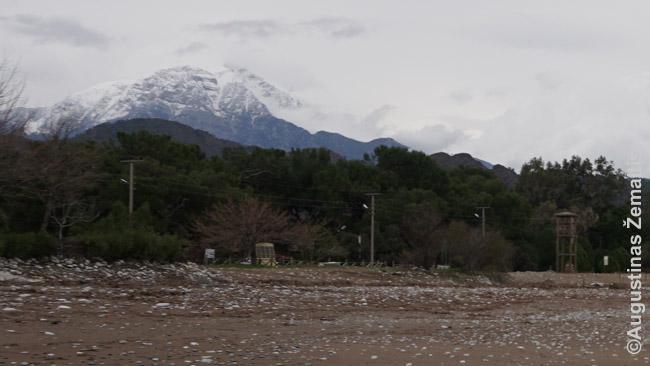 Olimpo kalną padengia ir sniegai. Viršūnėje apie 13 laipsnių šalčiau, nei paplūdimyje