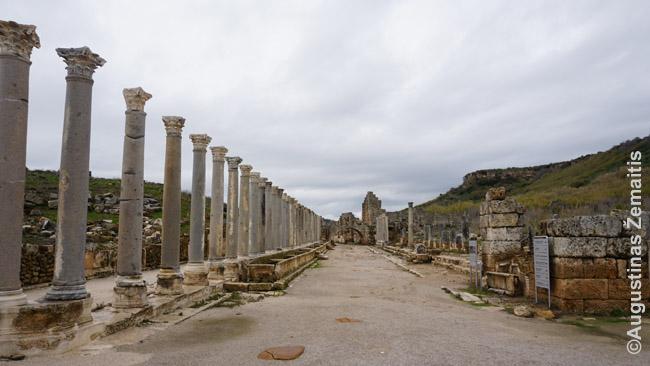 Pergės romėnų miesto Kolonuotoji gatvė. Tokias turėjo visi regiono romėnų miestai, jose vykdavo prekyba. Kolonos ilgainiui griuvo, bet jų detalės liko, todėl kasinėdami archeologai nesunkiai jas atstatė tiesiog vėl sukeldami autentiškus akmenis vieną ant kito ir pastatydami vietoje