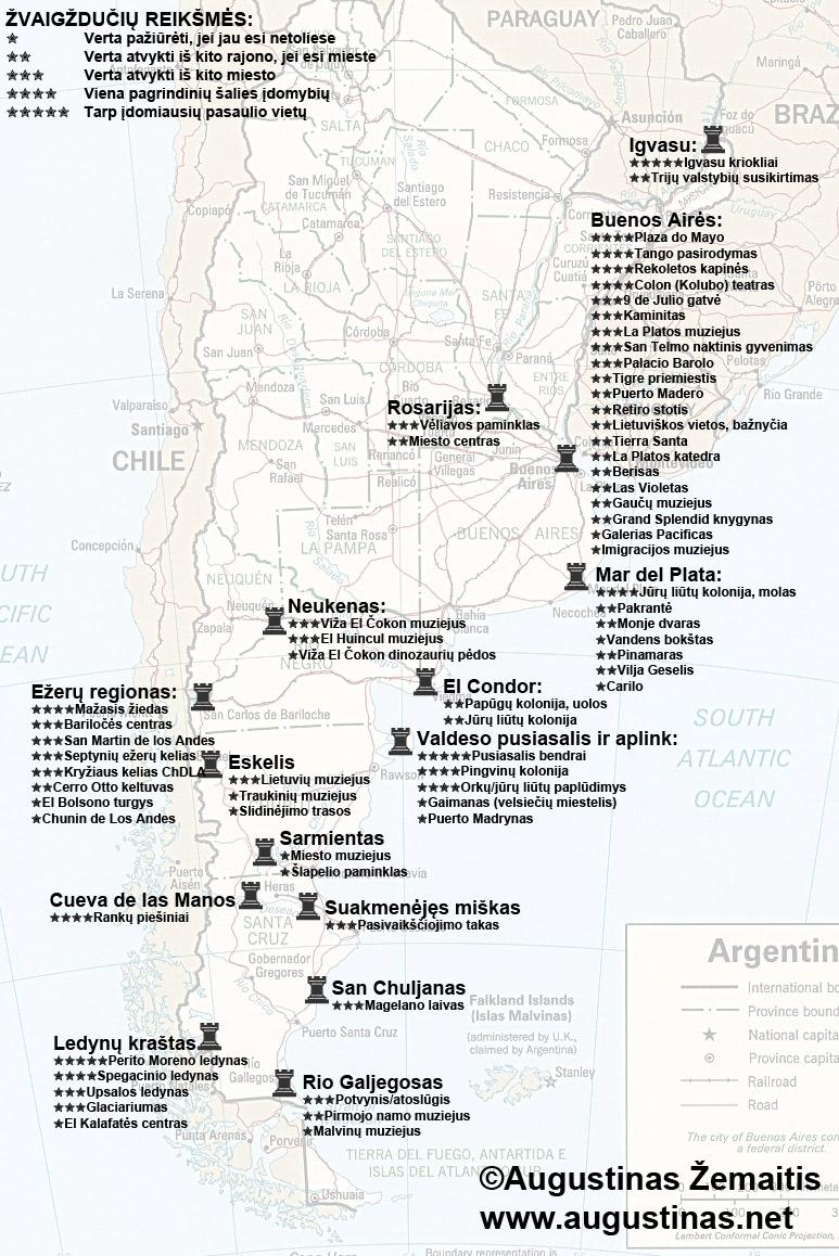 Argentinos lankytinų vietų žemėlapis. Galbūt jis padės jums susiplanuoti savo kelionę į Argentiną