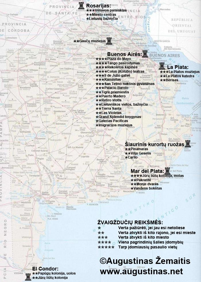 Argentinos pampų ir kurortų lankytinų vietų žemėlapis. Galbūt jis padės jums susiplanuoti savo kelionę į Argentinos kurortus ar pampas