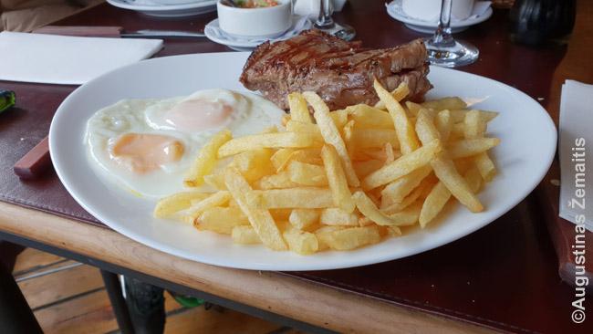 Lomo - argentinietiškas kepsnys, čia pateiktas su bulvėmis ir kiaušiniu