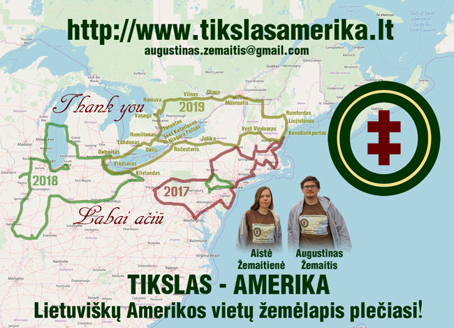 Apdėkos atvirukas, kokius dalinome pasakojusiems apie lietuvišką paveldą. Jame pažymėtas 2019 m. ekspedicijos maršrutas, o taip pat 2018 ir 2017 m. maršrutai