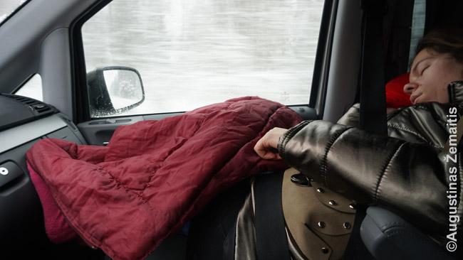 Mano žmona Aistė, vairavusi iki tol, miega, kol aš vairuoju.