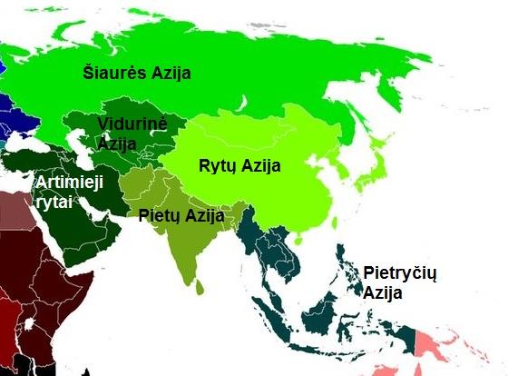 Pagrindiniai Azijos regionai, kiekviename kurių kelionės patirtis, kainos, gamta, kultūra, klimatas skirsis kardinaliai