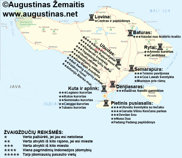 Balio lankytinų vietų žemėlapis. Galbūt jis padės jums susiplanuoti savo kelionę į Balį.