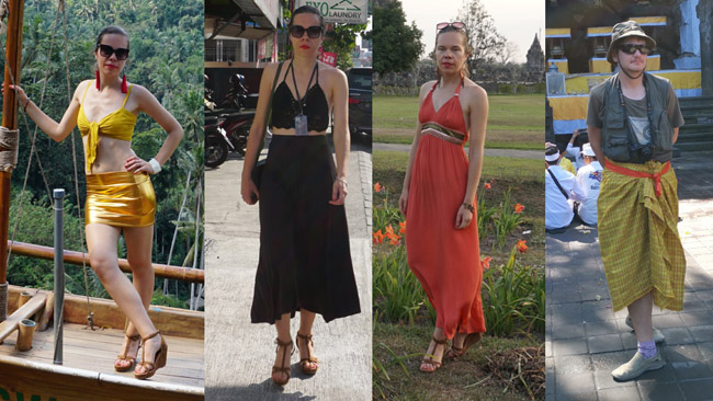 Balio mados. Mano žmonos nuotraukose kairėje dauguma drabužių iš Balio turgų ir parduotuvių. Mano drabužiai mano paties, tačiau šventykloje gavau privalomą pagarbos raištį ir, kadangi buvau su šortais - sarongą. Beje, apgavikai prie šventyklų tokius pačius pardavinėja ir duoda suprasti, kad be jų į vidų neįleis. Neapsigaukite: pagrindinėse šventyklose raiščius ir sarongus paskolina.