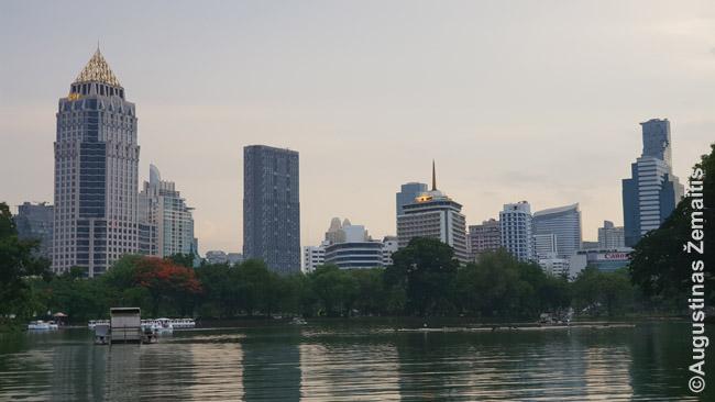 Bankoko dangoraižiai plaukiant išsinuomotu vandens dviračiu Lumpinio parko tvenkinyje