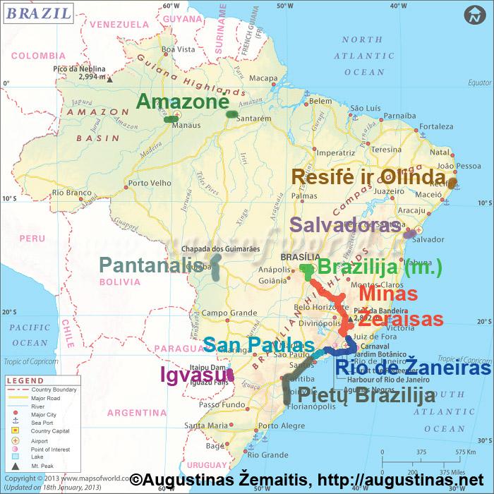 Aplankyti Brazilijos regionai ir kaip jie suskirstyti į straipsnius