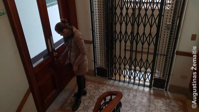 Seno daugiabučio vidus. Liftas, kurio dvejas duris - pačios kabinos ir išorines grotas - reikia darinėti rankomis. Seni turėklai, grindys, sunkios durys į lauko koridorių iš kurio - panašios į butus