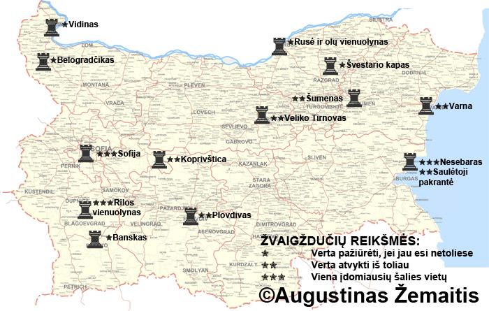 Bulgarijos lankytinų miestų žemėlapis ir įvertinimai. Galbūt jis jums padės susiplanuoti savo kelionę į Bulgariją