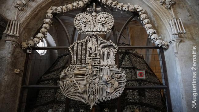 Švarcenbergų herbas išdėliotas iš tikrų žmonių kaulų Sedlece