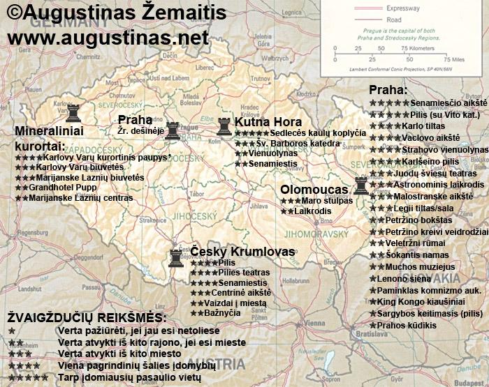 Čekijos lankytinų vietų žemėlapis (su mano įvertinimais). Galbūt jis padės jums susiplanuoti savo kelionę į Čekiją.