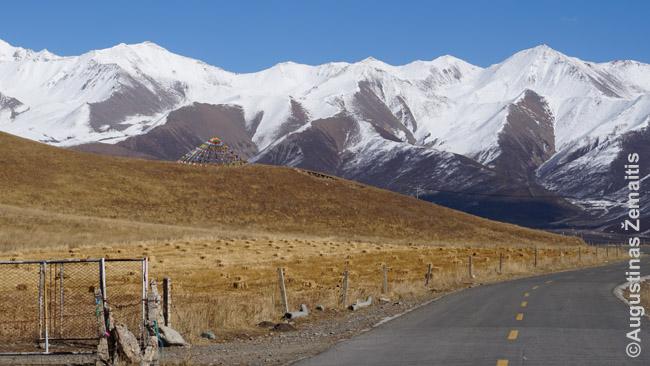 Vieniša maldos vėliava palei tuščia kelią į kalnus Činghajuje