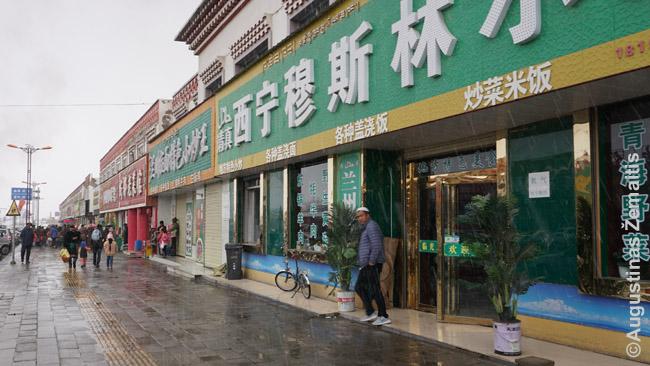 Eilinis pakelės miestelis su vienaukščių restoranų ir parduotuvių eilėmis Činghajuje. Viduje visur šalta, nešildoma net drebiant sniegui