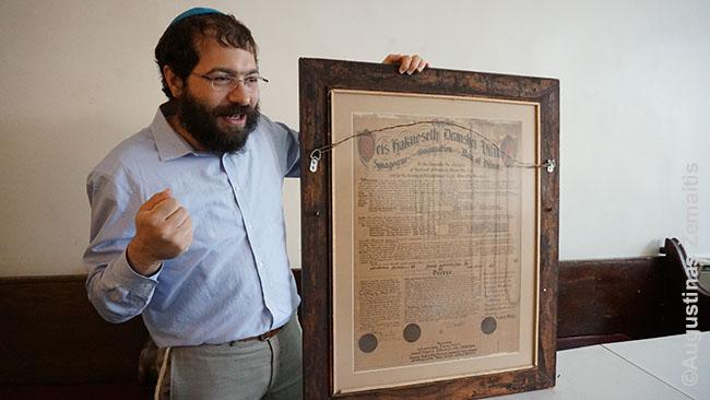 Rabinas rodo Vilniaus sinagogos steigimo dokumentus