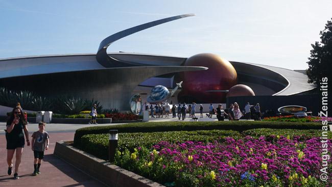 Mission Space paviljono išorė: Disnėjaus imažinieriai nepamiršta ir architektūros