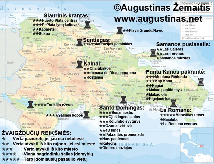 Dominikos Respublikos lankytinų vietų žemėlapis. Viliuosi, jis padės jums susiplanuoti savo kelionę į Dominikos Respubliką