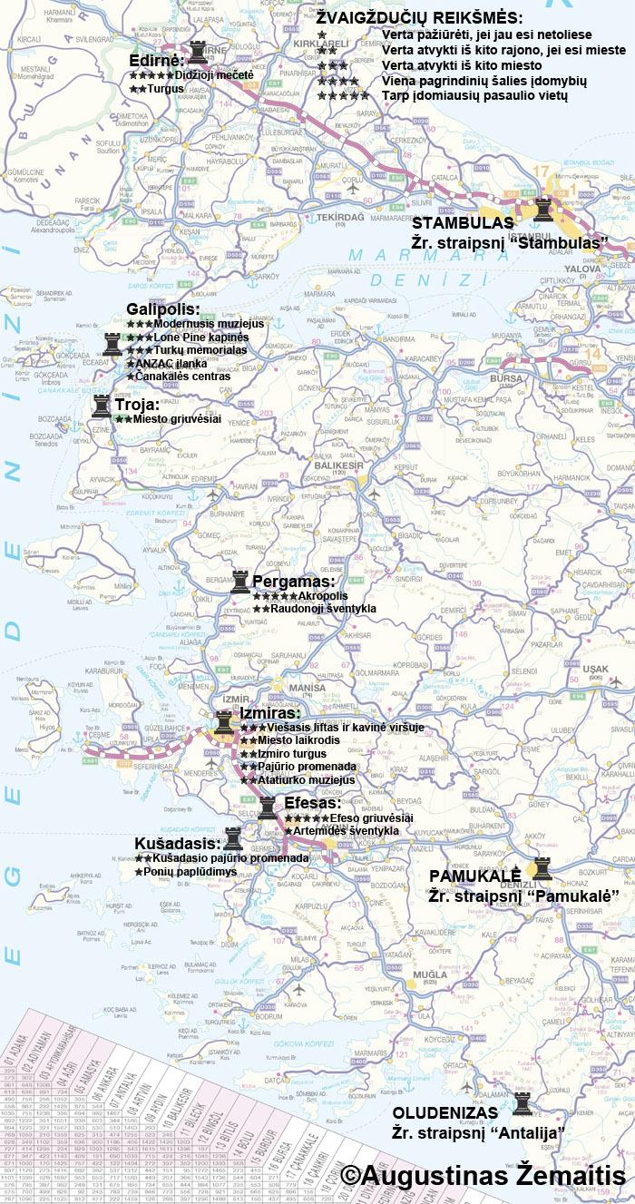 Turkijos Ėgėjo jūros pakrantės lankytinų vietų žemėlapis ir įvertinimai. Galbūt jis jums padės susiplanuoti savo kelionę į Turkijos Ėgėjo jūros pakrantę