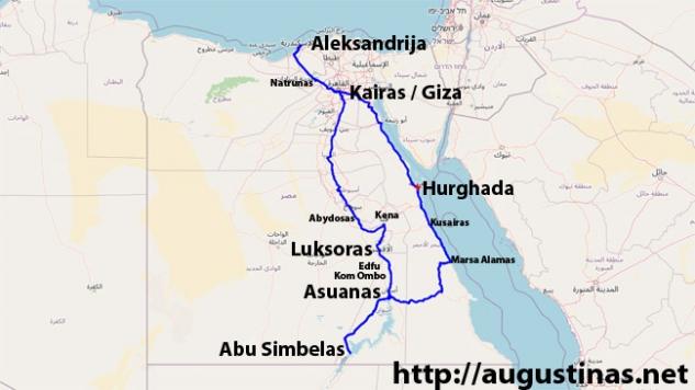 Kelionės automobiliu po Egiptą maršrutas