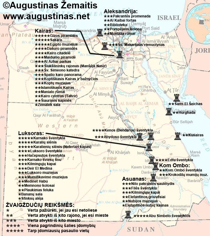 Egipto lankytinų vietų žemėlapis ir įvertinimai. Galbūt jis padės jums keliauti po Egiptą.