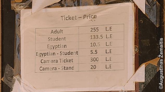 Egipto lankytinos vietos kainodara: užsieniečiui 255, egiptiečiui - 10,5 svaro