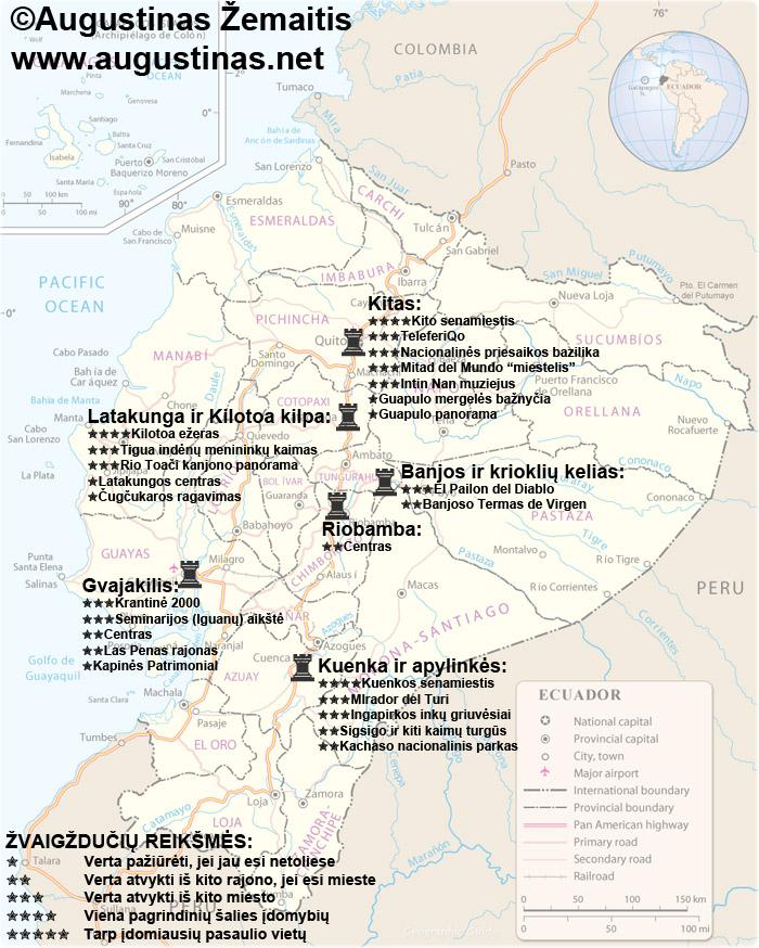 Ekvadoro lankytinų vietų žemėlapis su mano įvertinimais. Galbūt jis padės jums susiplanuoti savo kelionę į Ekvadorą.