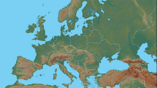 Gamtinis Europos žemėlapis. Žaliai pažymėtos lygumos; kuo rudžiau - tuo aukštesni kalnai