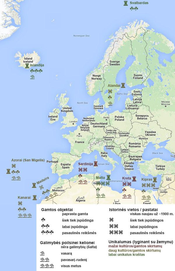 Europos salos ir jų įdomybės kelionės į vieną jų planavimui