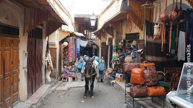Asilas į Feso medinos parduotuves atvežė prekes
