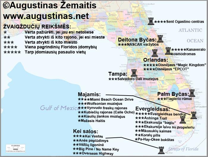 Floridos lankytinų vietų žemėlapis. Galbūt jis padės jums susiplanuoti savo kelionę į Floridą.
