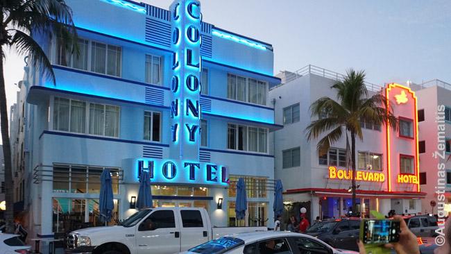 Miami Beach viešbučiai. Tarpukariu - eiliniai, dabar be kelių šimtų dolerių čia kambario tikrai negausi