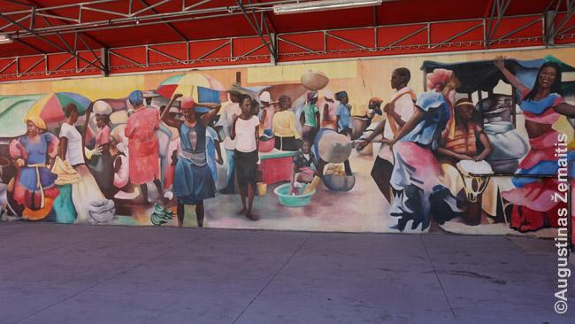 Freska ant Mažojo Haičio kultūrinio centro. Viduje, tiesa, nieko nebuvo