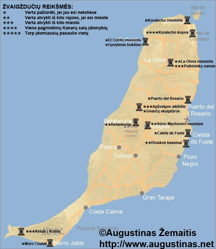 Fuerteventuros lankytinų vietų ir kelionės į Fuerteventurą žemėlapis