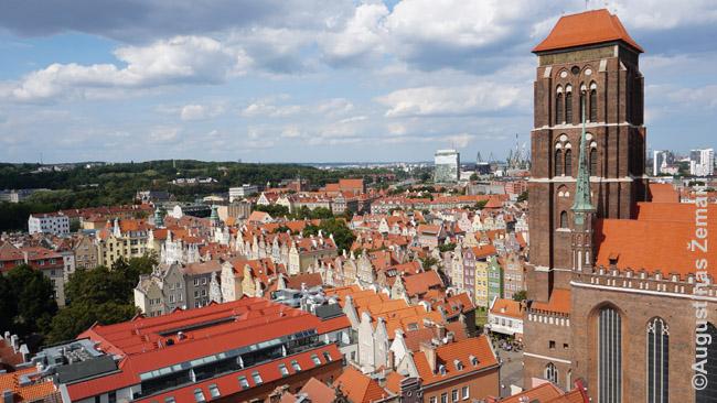 Gdanskas iš Rotušės bokšto. Dešinėje - Marijos katedra