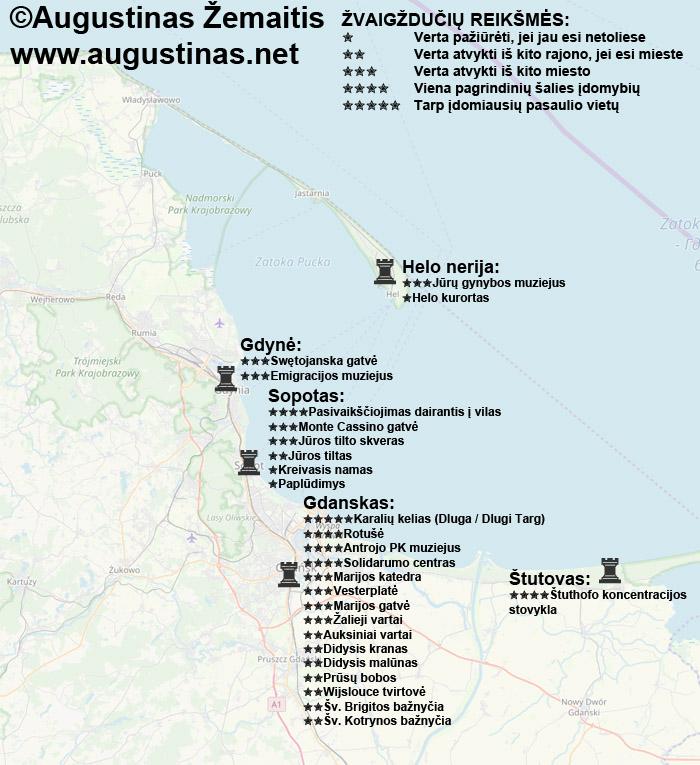 Gdansko, Gdynės ir Sopoto lankytinų vietų žemėlapis (su įvertinimais). Viliuosi, kad jis padės jums susiplanuoti savo kelionę