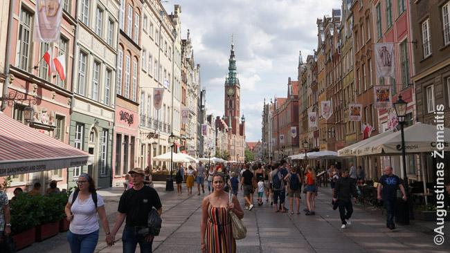 Gdansko Karalių kelyje. Tolumoje - Gdansko rotušės bokštas