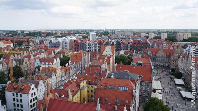Vaizdas iš Gdansko rotušės bokšto žvelgiant į pietus. Anapus Stara Motlawa kanalo - jau modernūs pastatai