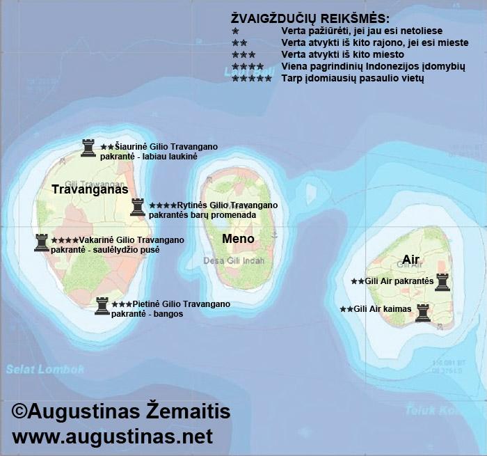 Gilio salų lankytinų vietų žemėlapis. Galbūt jis padės jums susiplanuoti savo kelionę į Gilį.