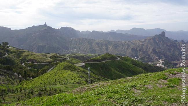 Gran Kanarijos kalnai nuo Cruz de Tejeda aikštelės